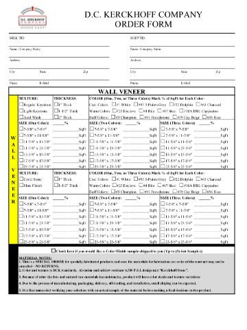 Precast Cladding Order Form