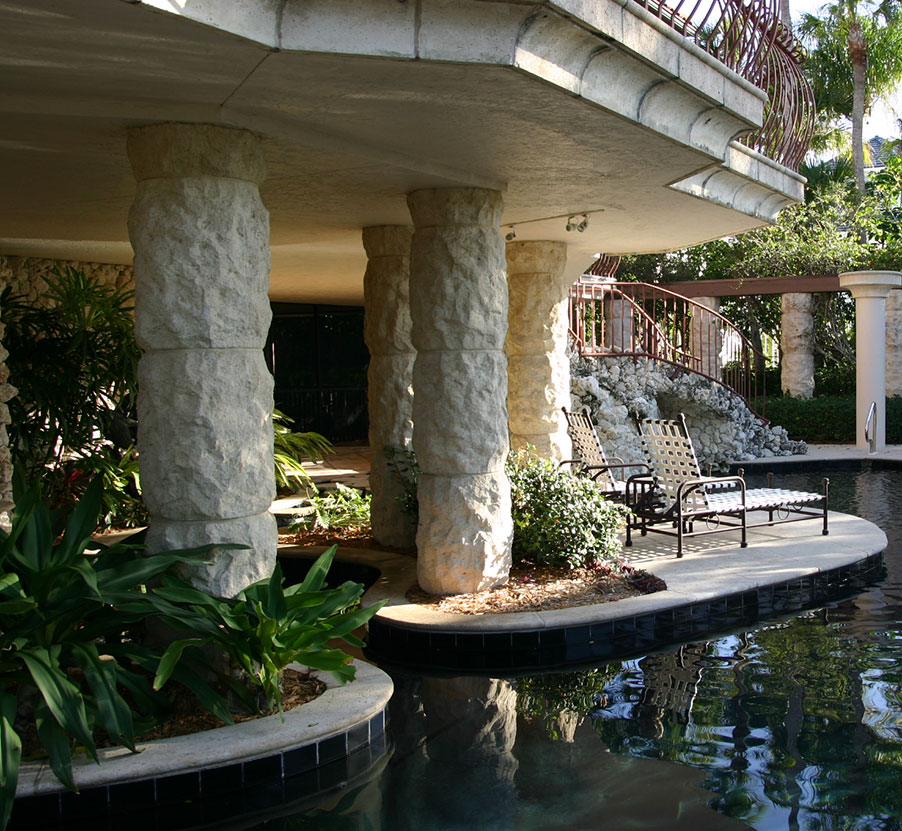 Marco Island Residence Columns, Pavers, and Pool Coping